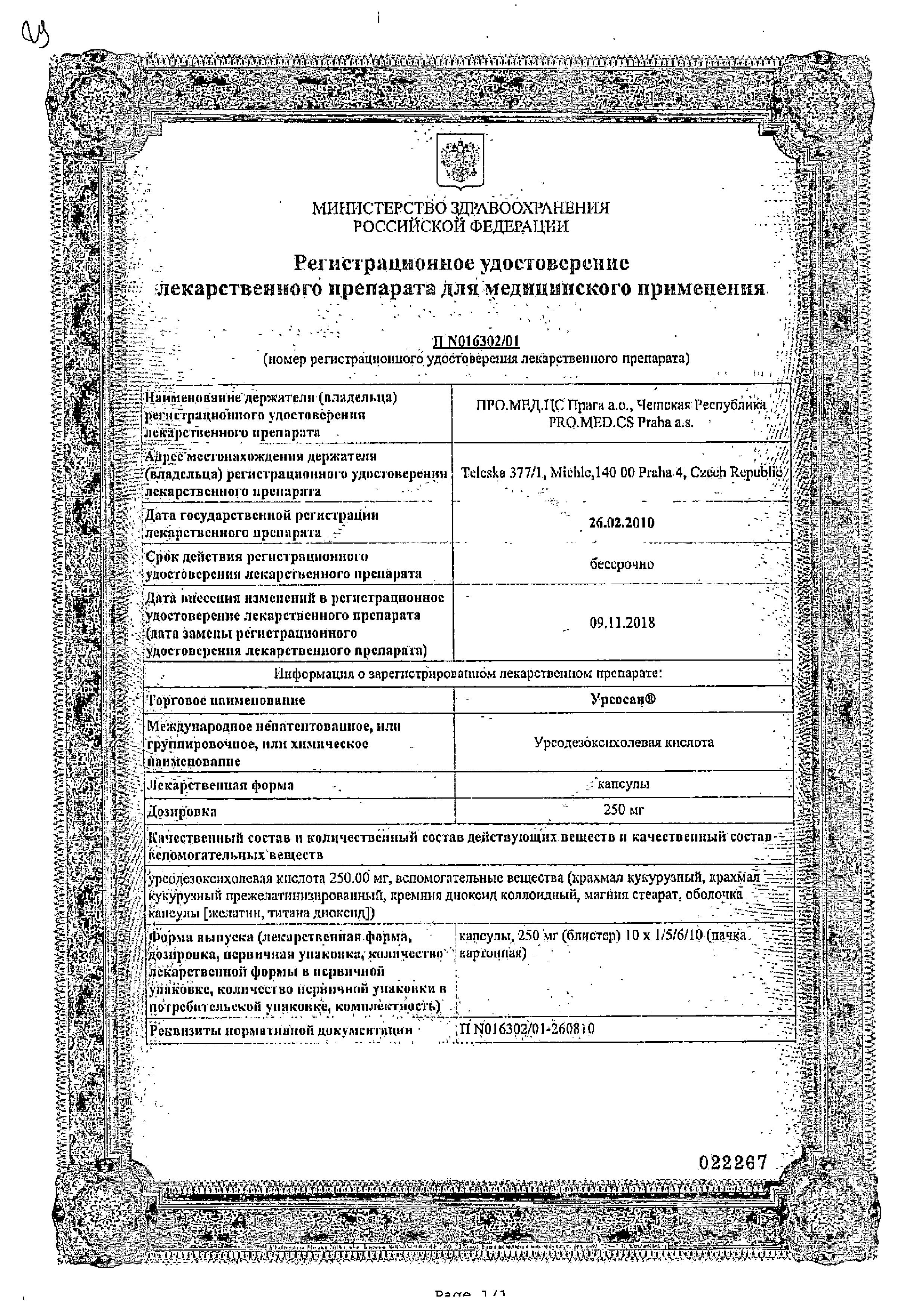 Урсосан сертификат