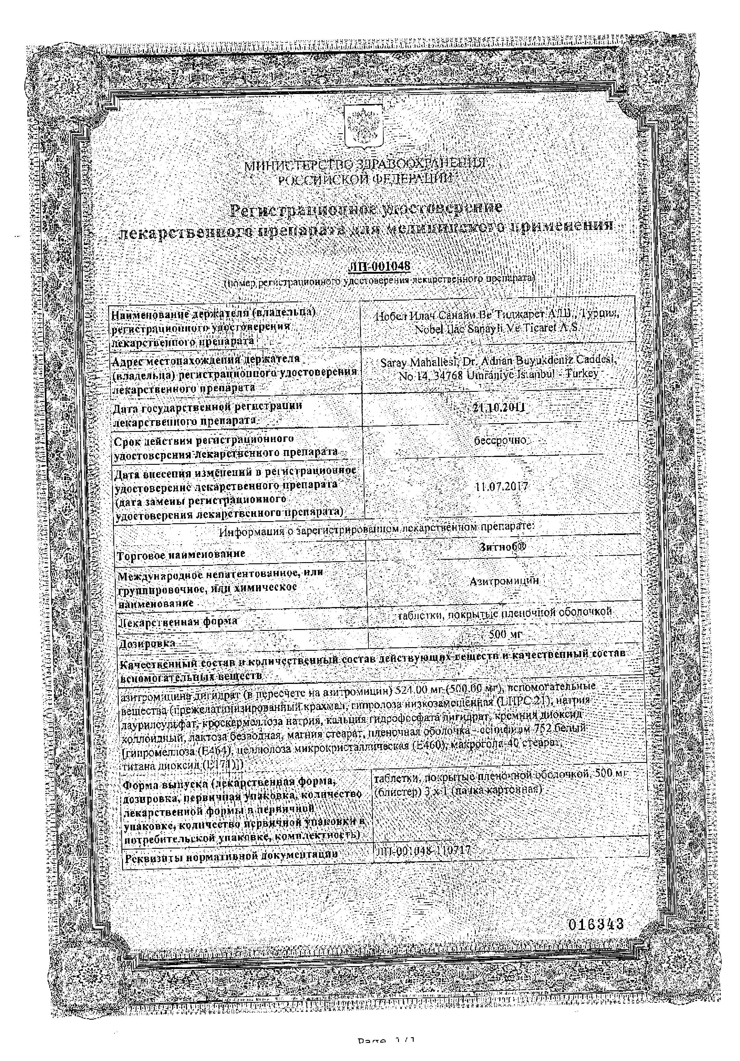 Зитноб сертификат