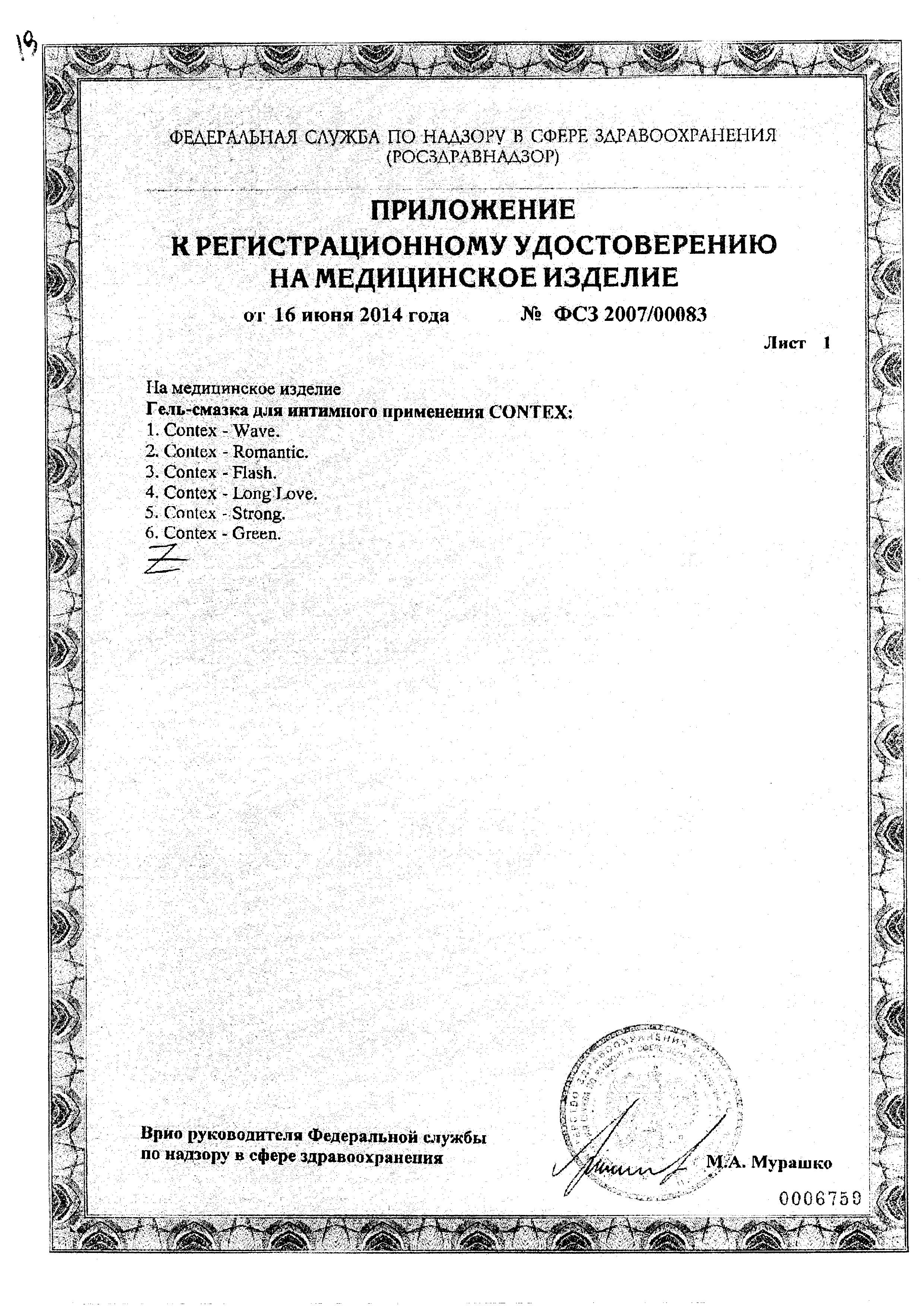 Гель-смазка Contex Strong сертификат