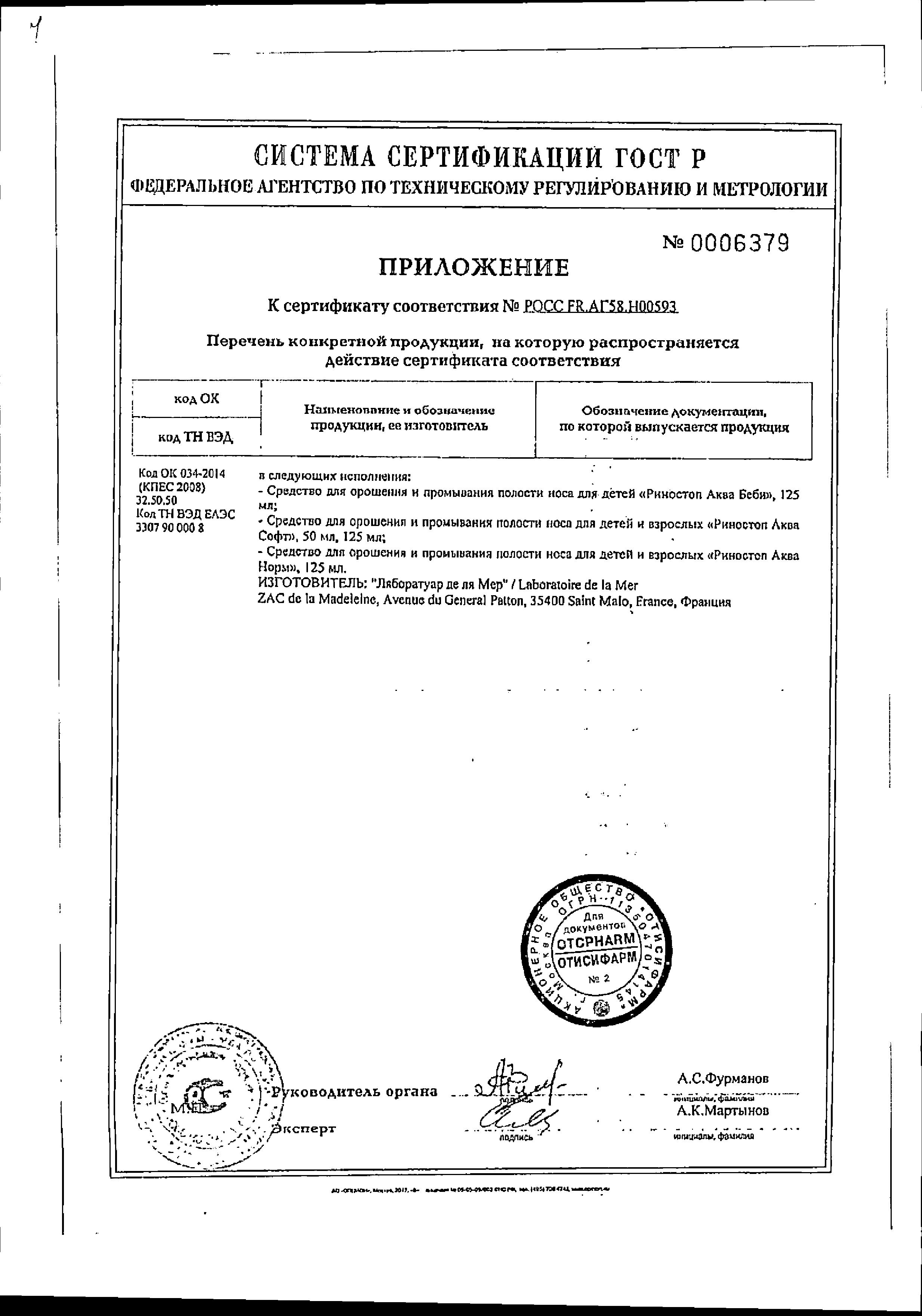 Риностоп Аква Беби сертификат