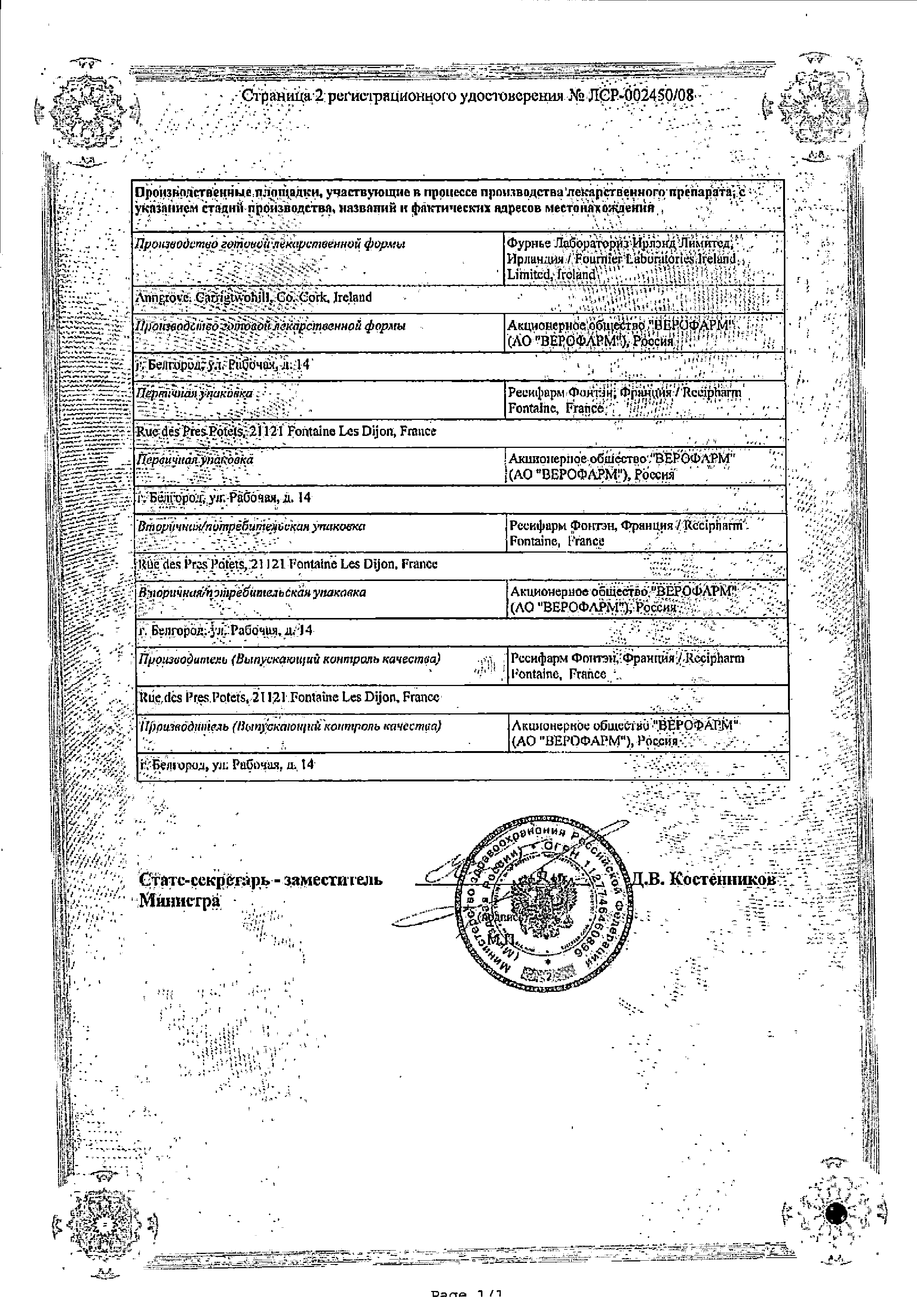 Трайкор сертификат