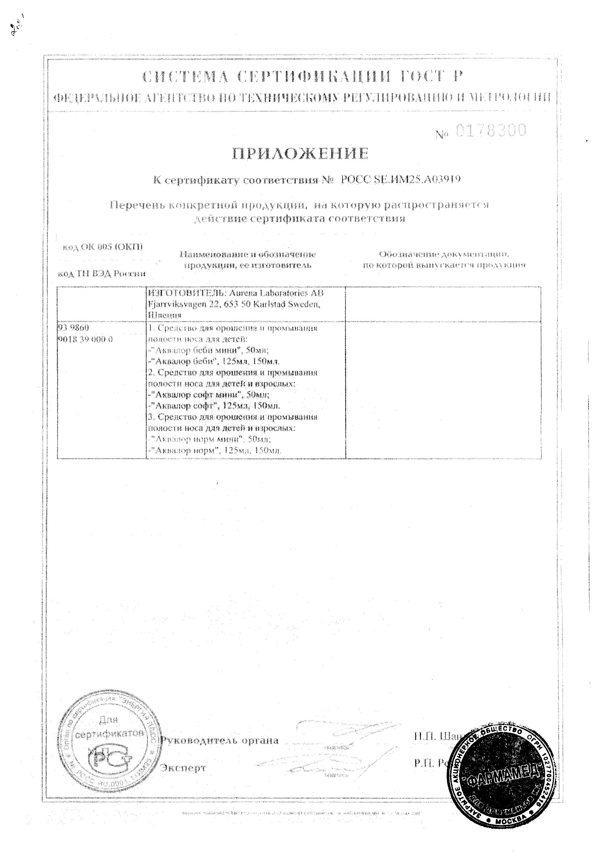 Аквалор норм сертификат