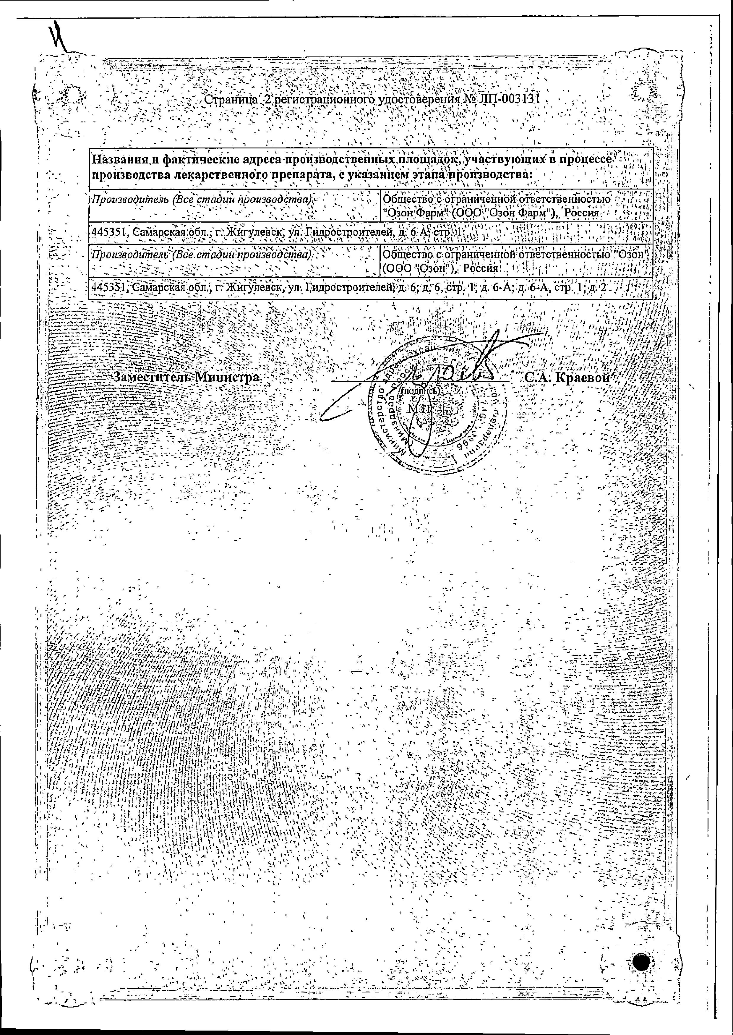 Толперизон сертификат