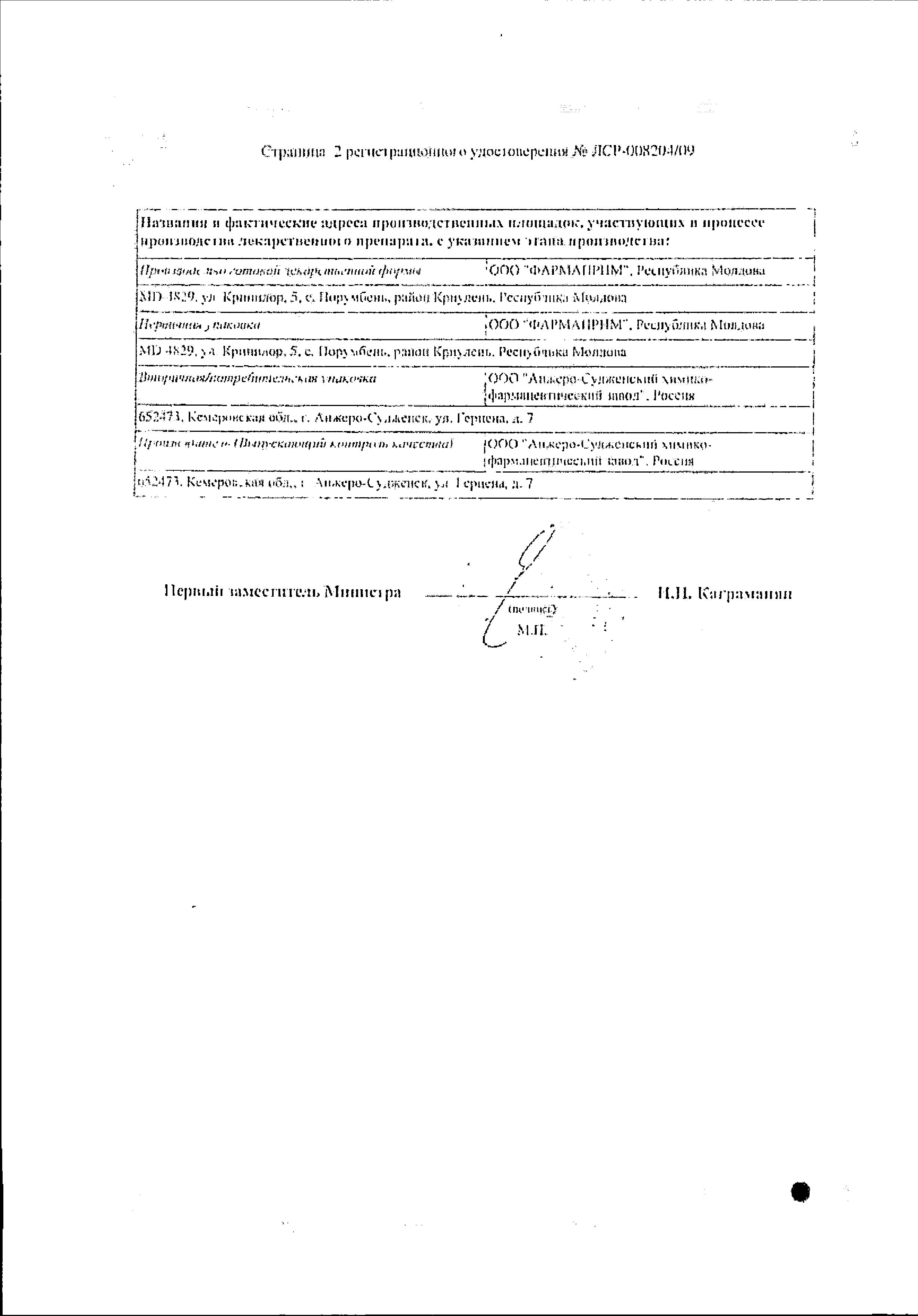 Метронидазол (свечи) сертификат