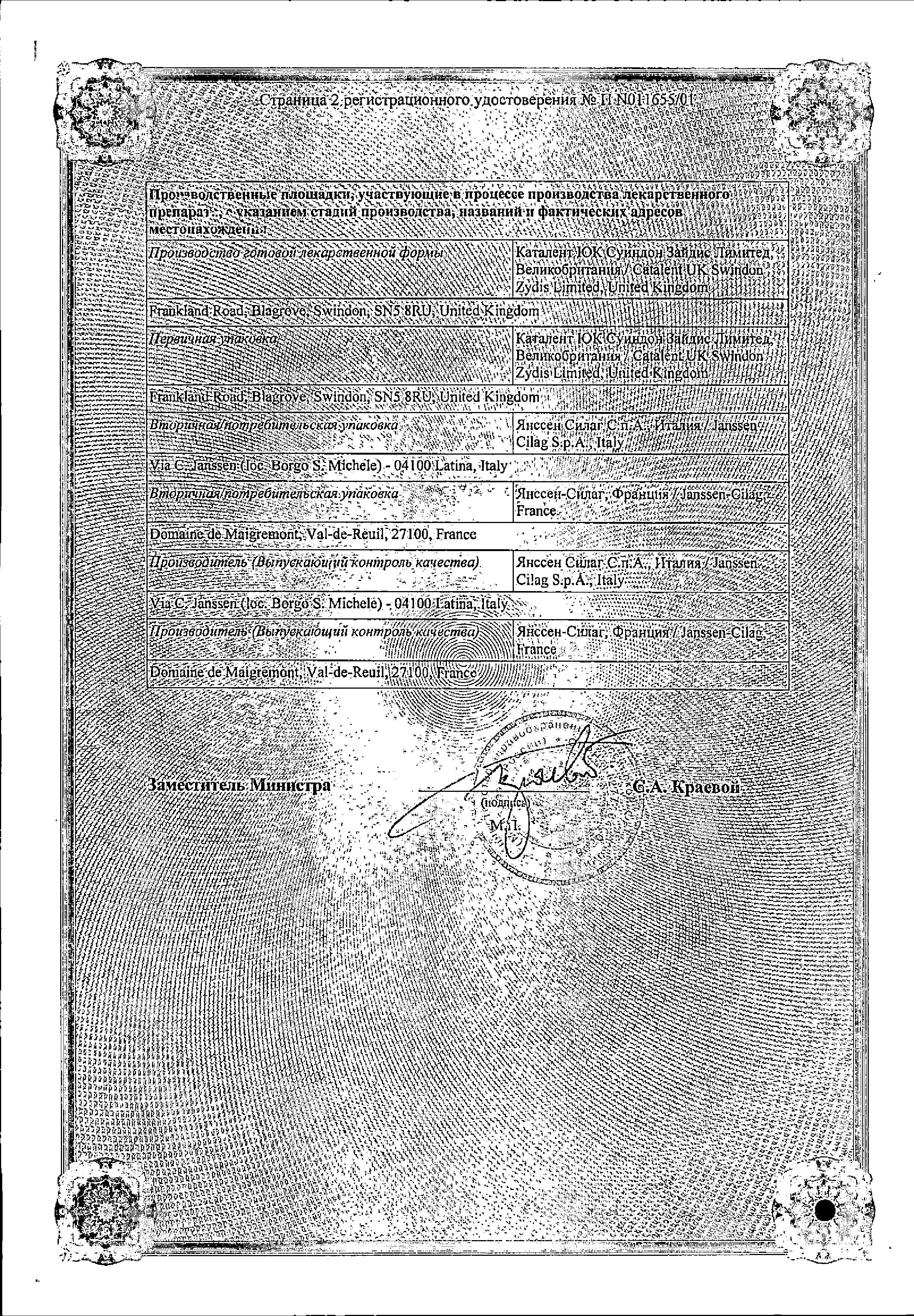 Мотилиум Экспресс сертификат