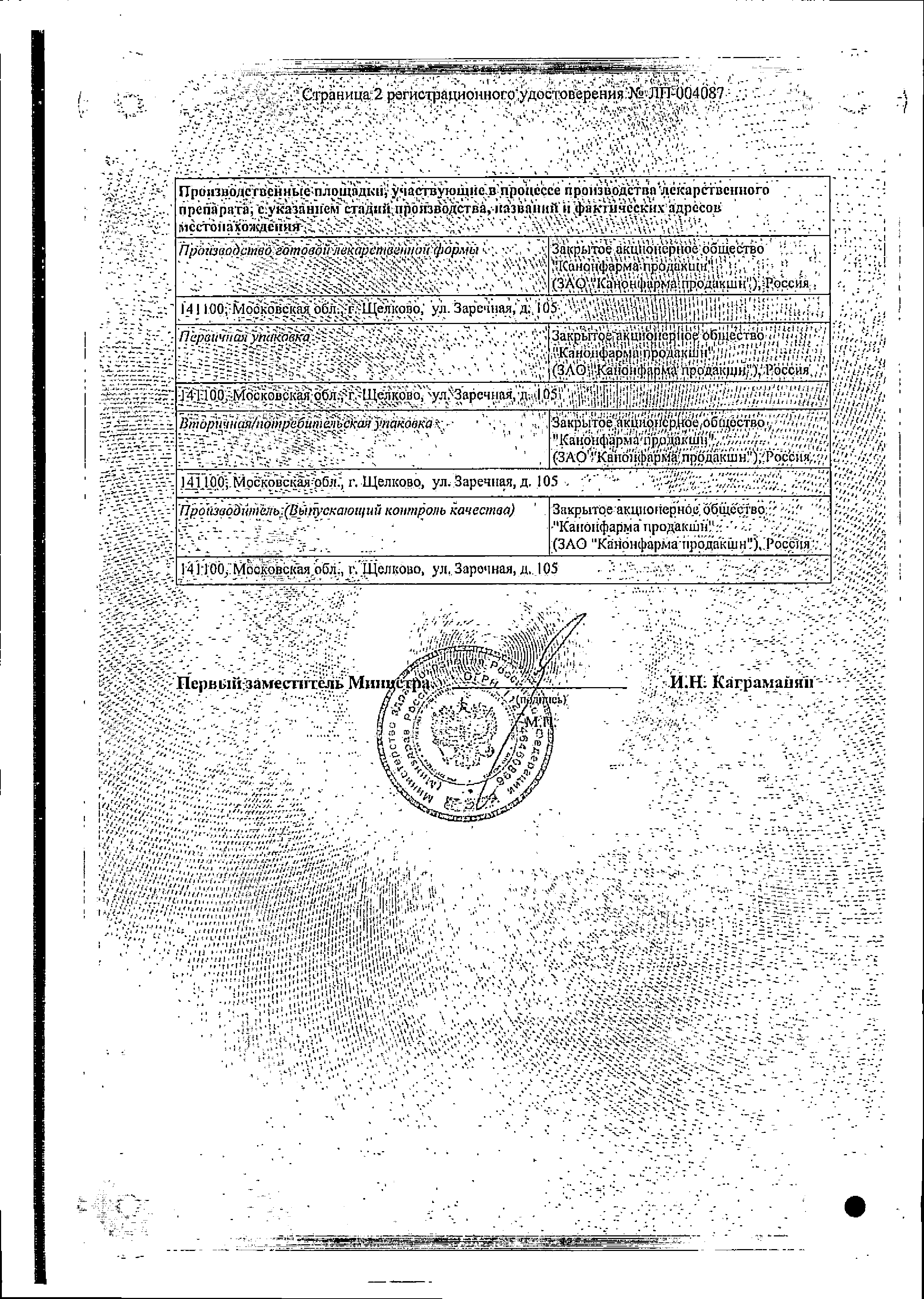 Линезолид Канон сертификат
