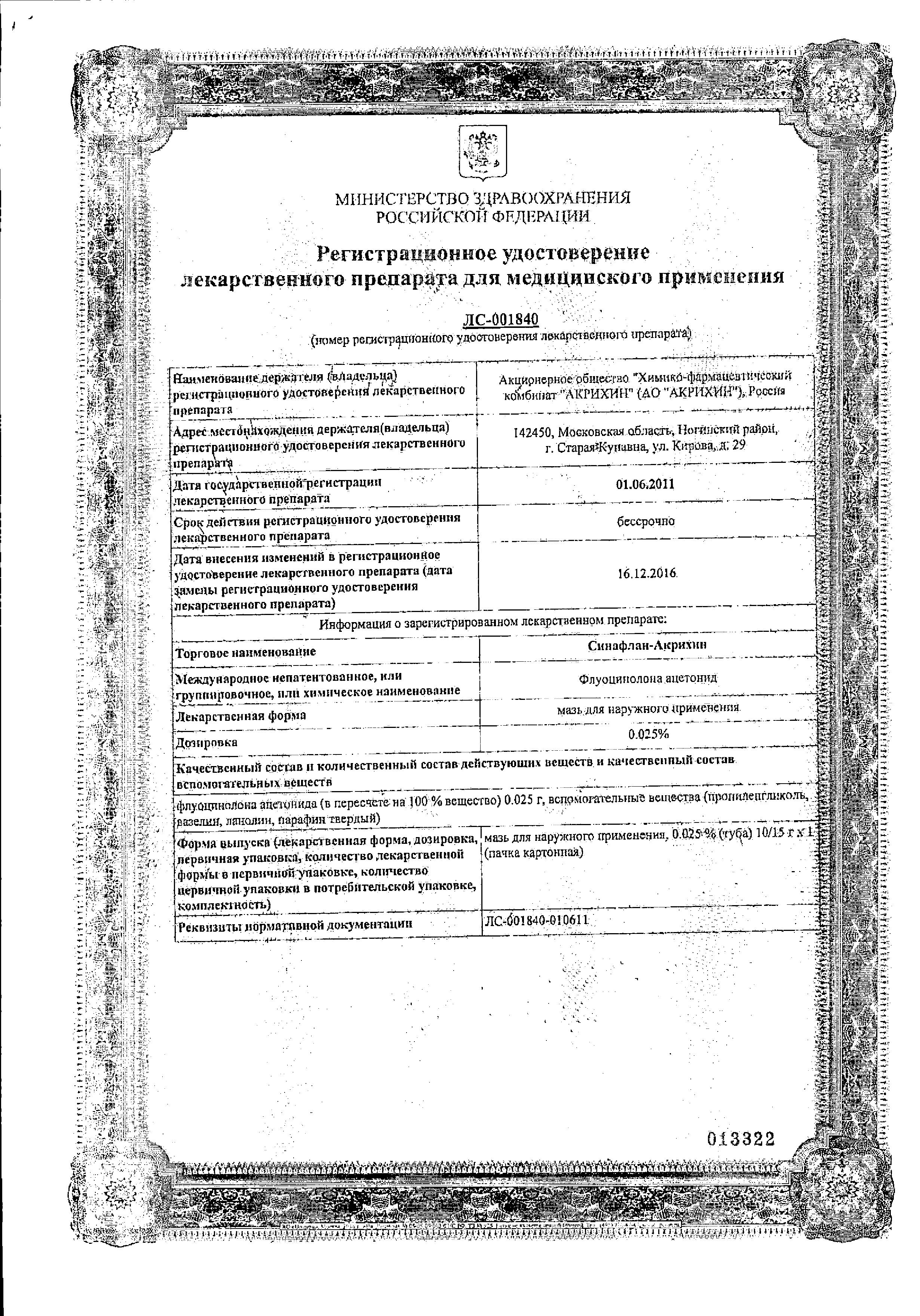 Синафлан-Акрихин сертификат
