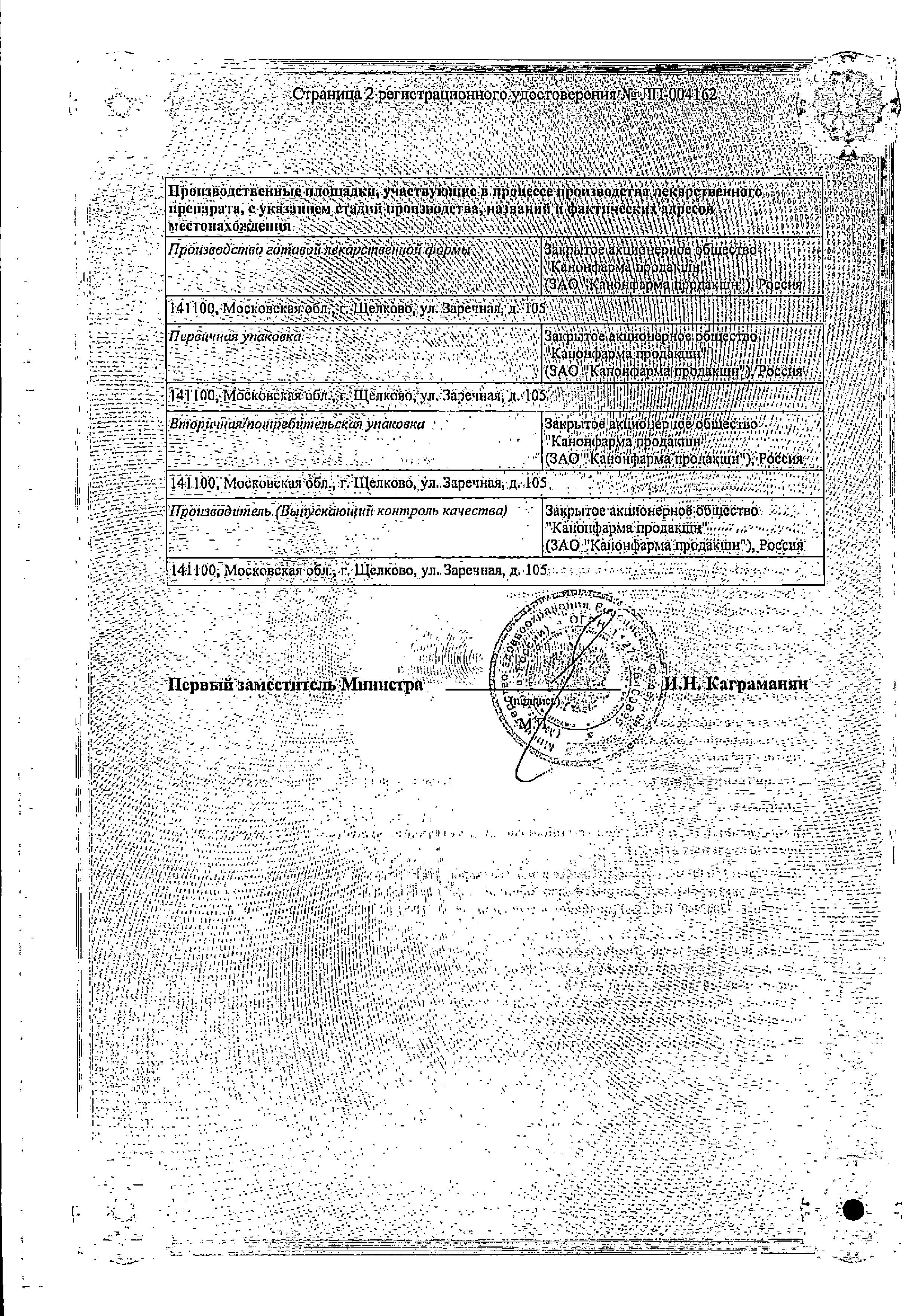Ламивудин Канон сертификат