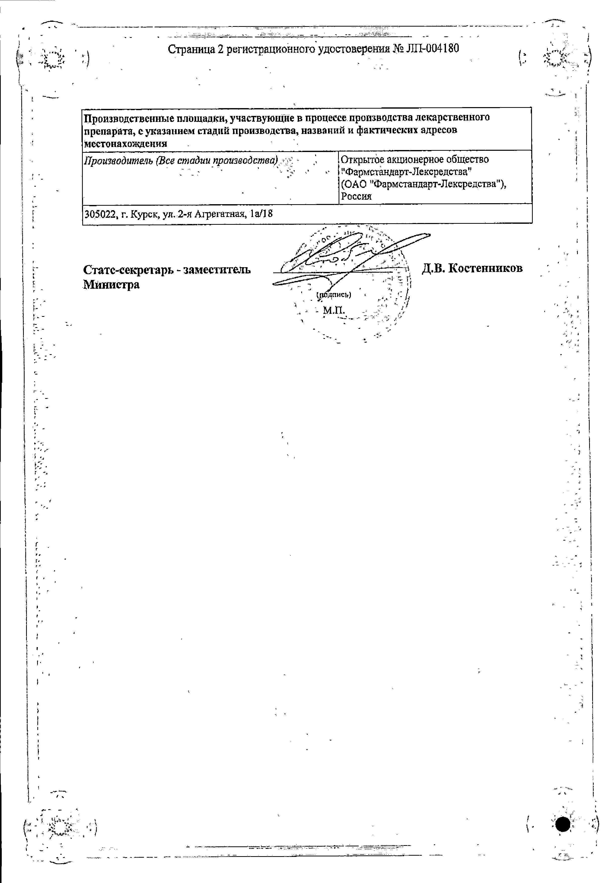 Уронормин-Ф сертификат