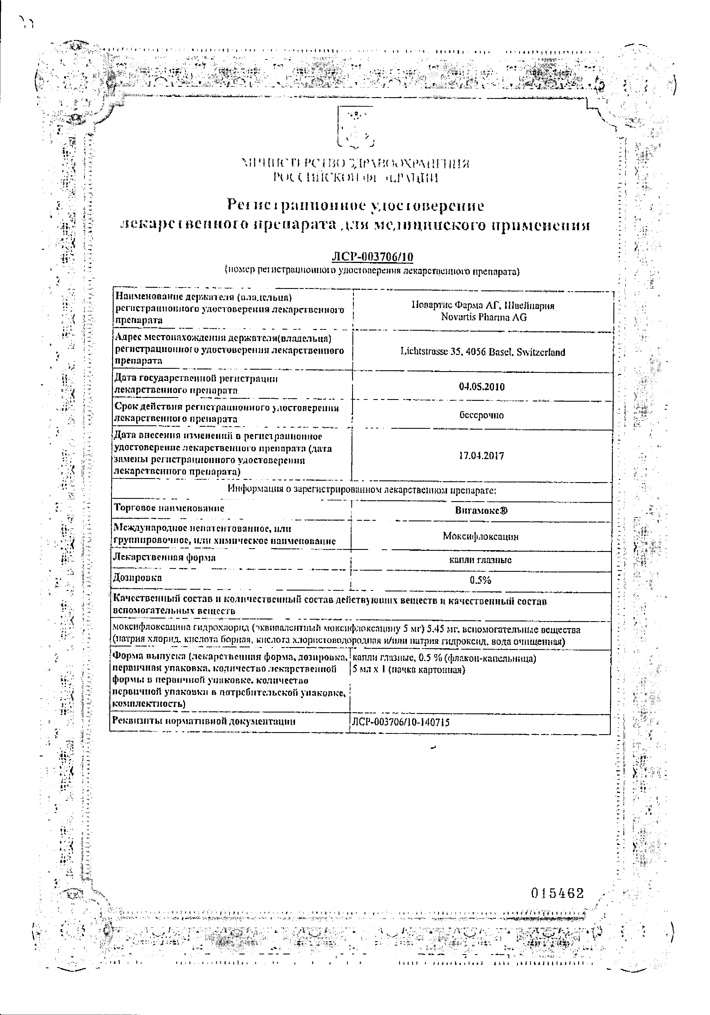 Вигамокс сертификат