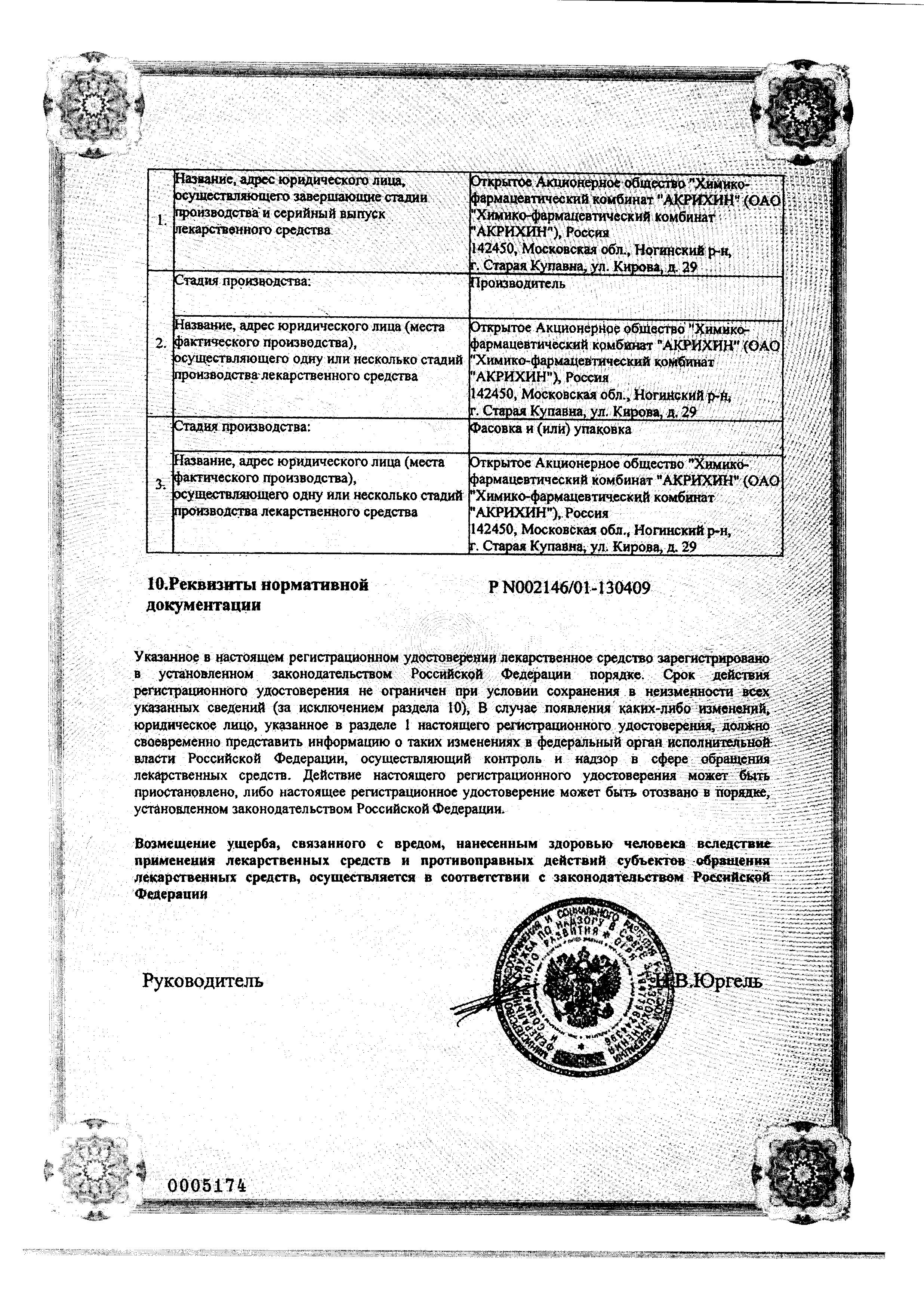 Диклофенак-Акрихин сертификат