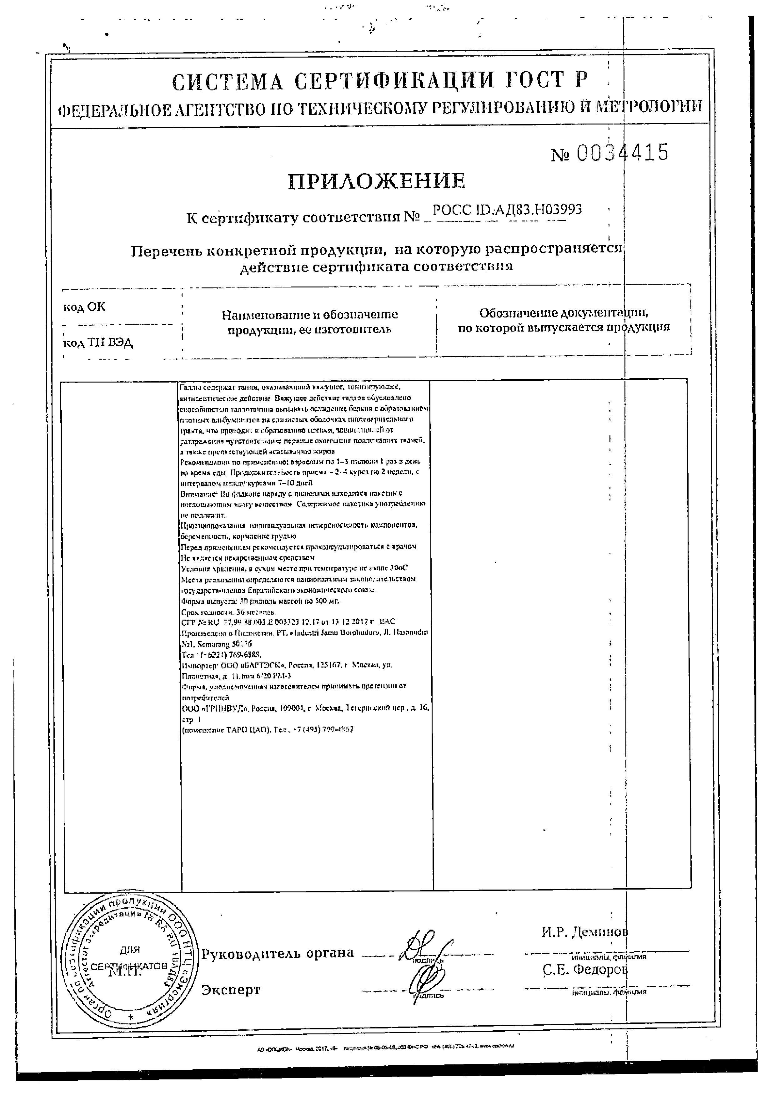 Фитопилюли Ремилакс сертификат
