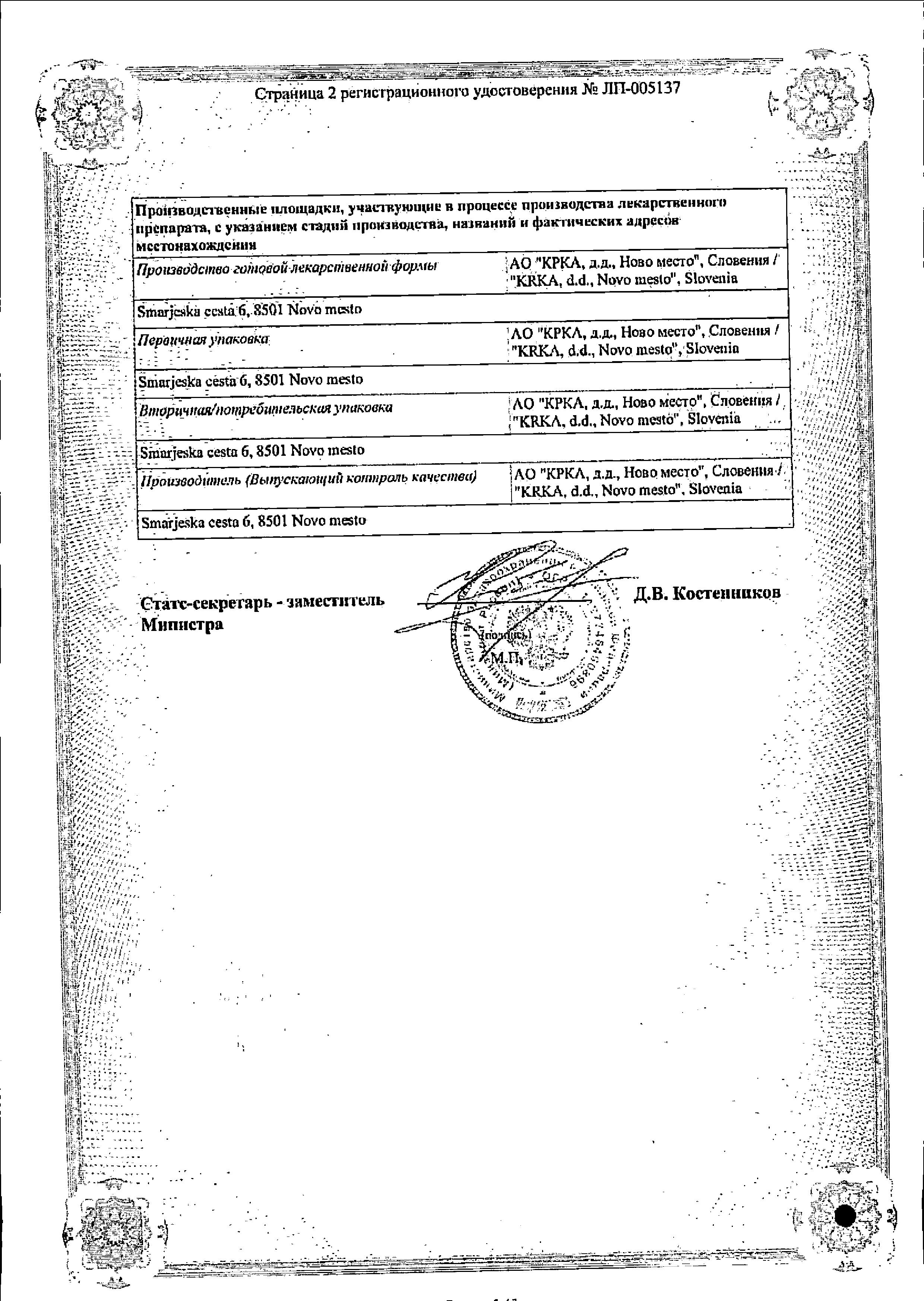 Телмиста Н сертификат