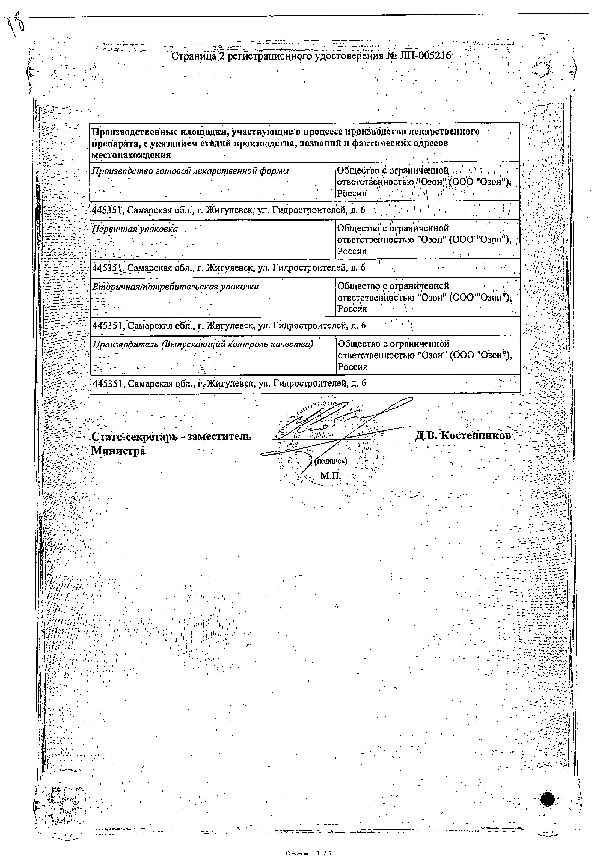 Пироксикам сертификат