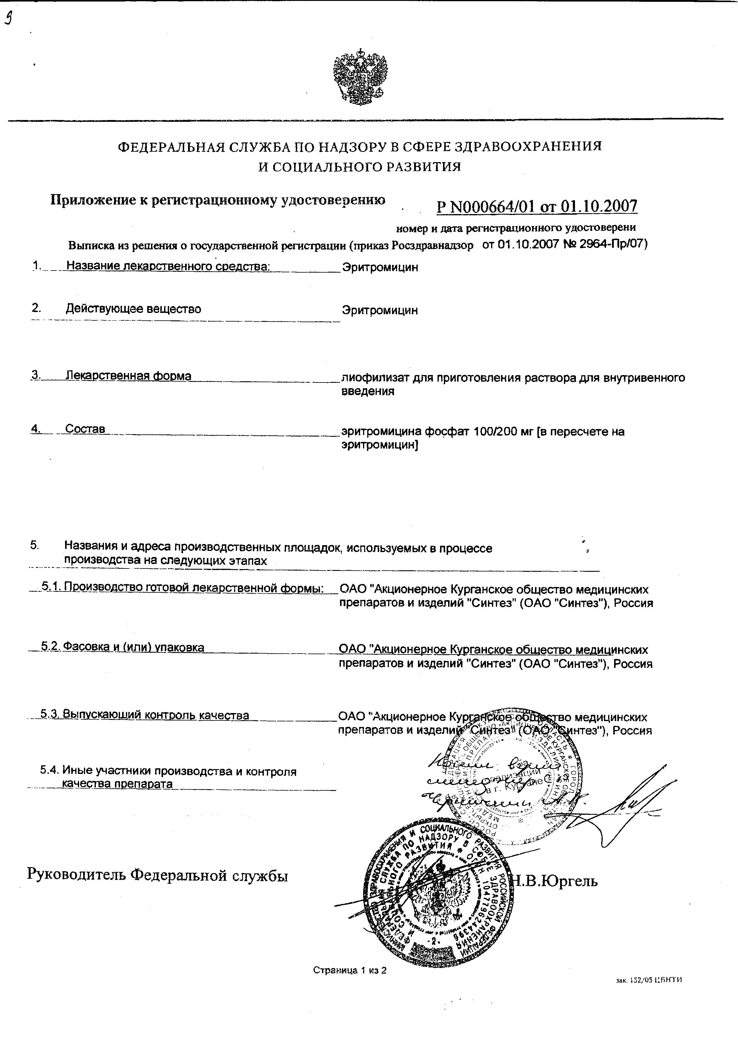 Эритромицин (лиофилизат) сертификат