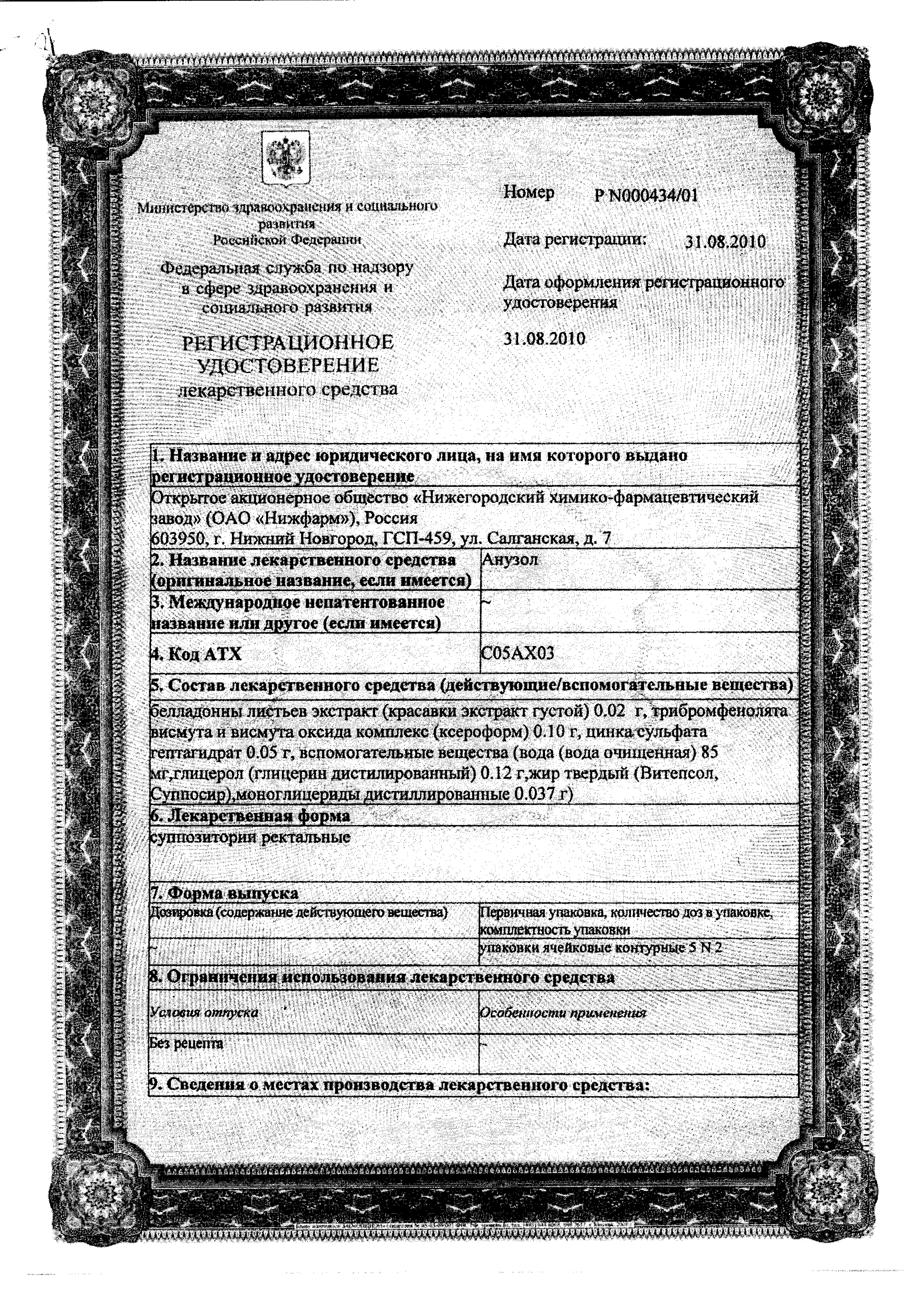 Анузол сертификат