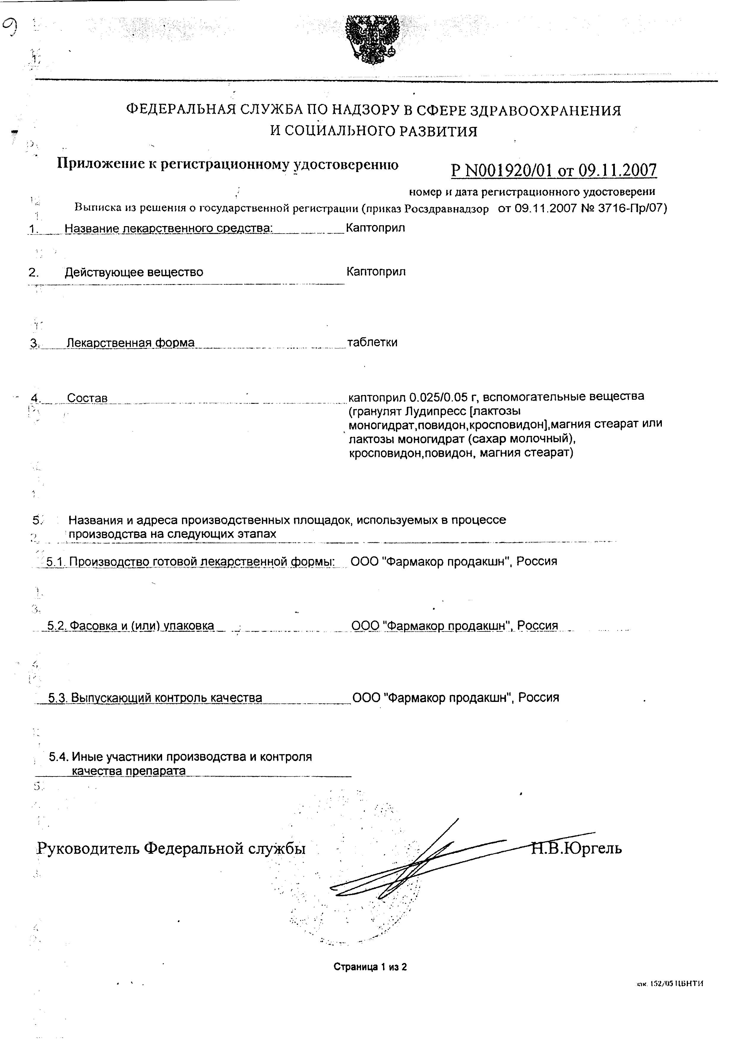 Каптоприл сертификат