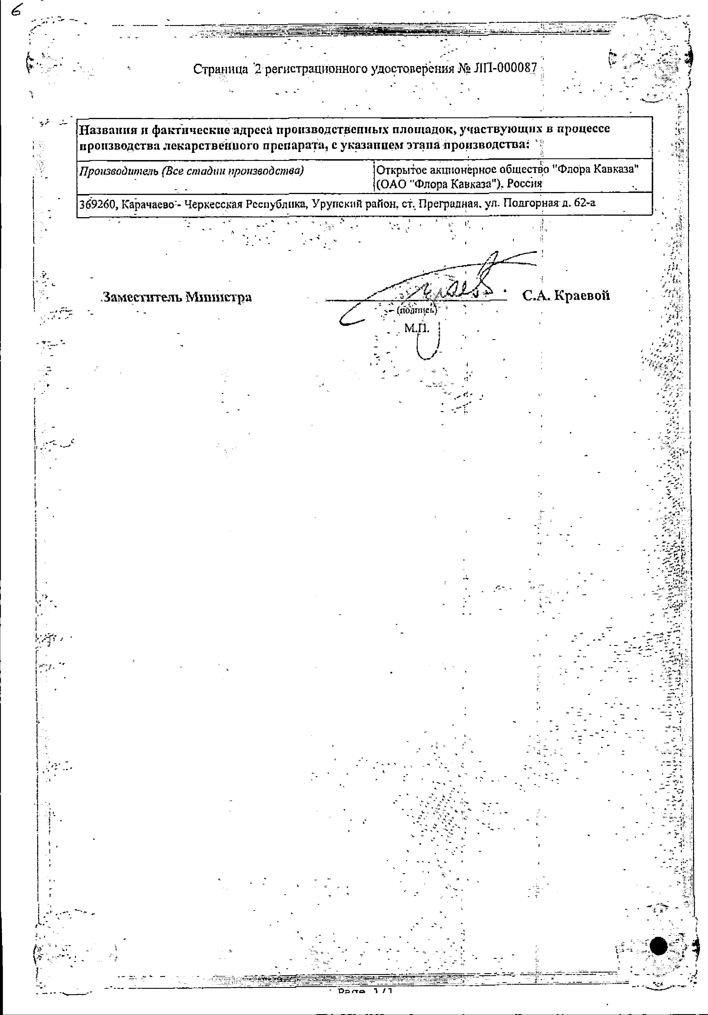 Боярышник сертификат