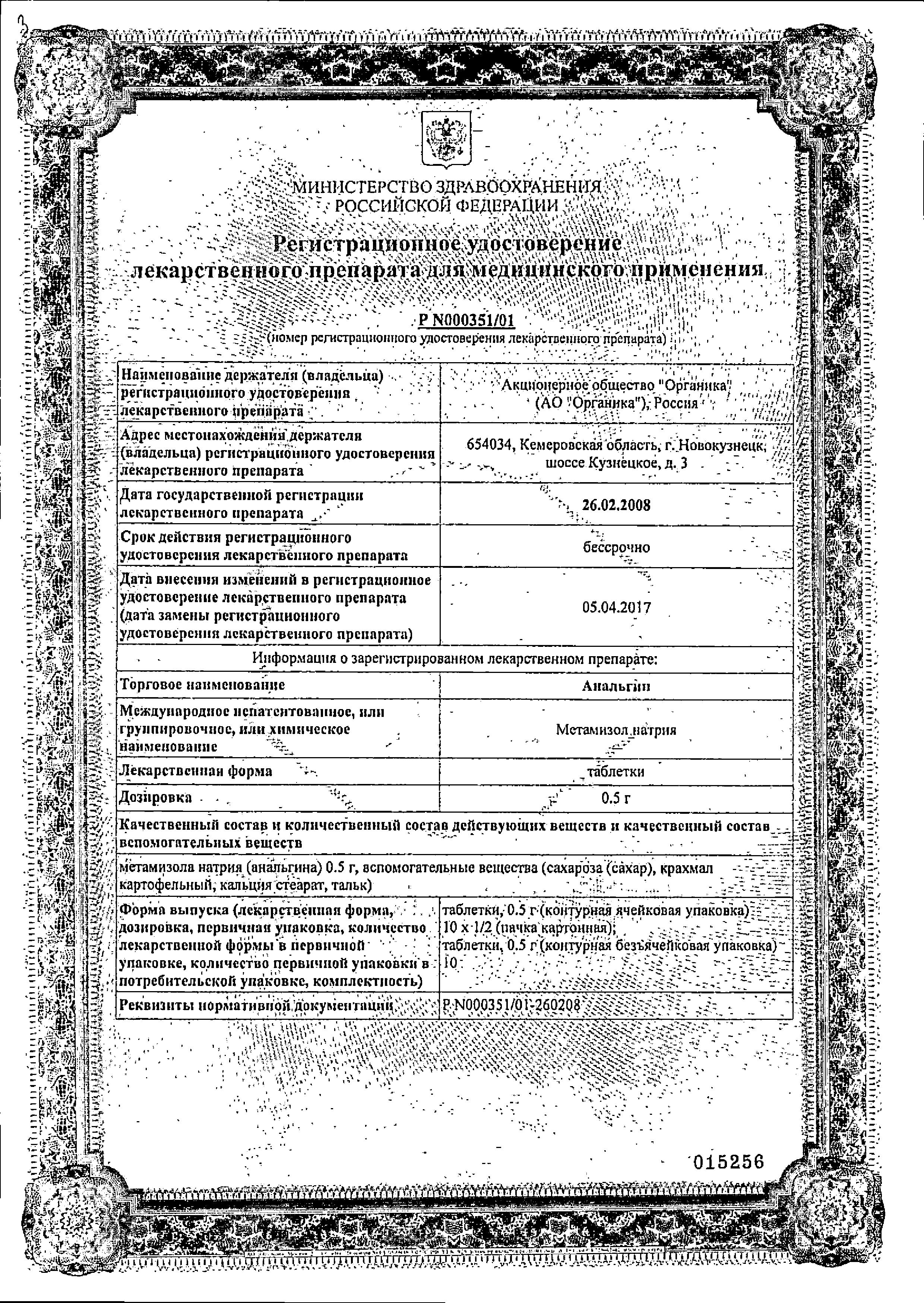 Анальгин сертификат