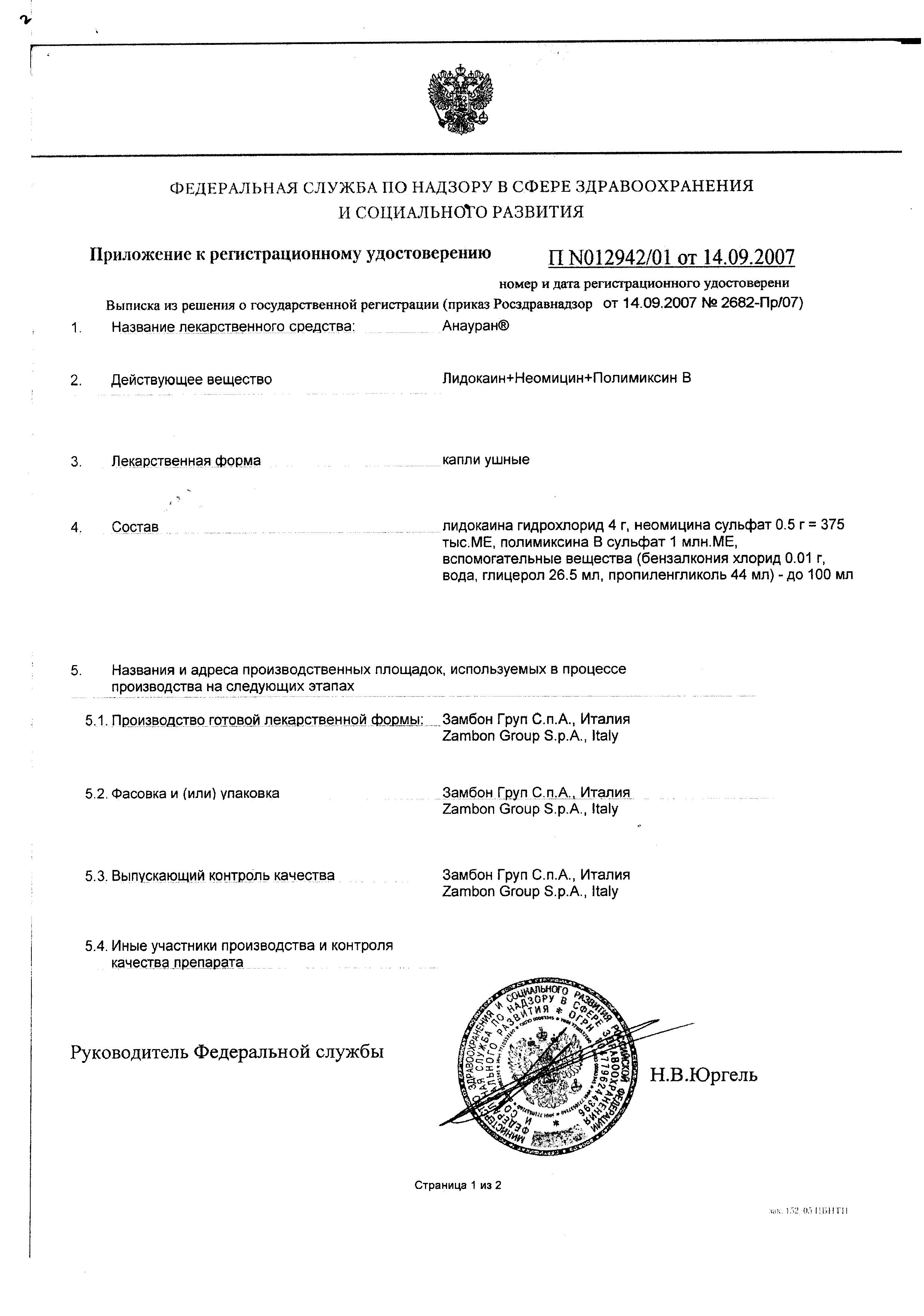 Анауран сертификат