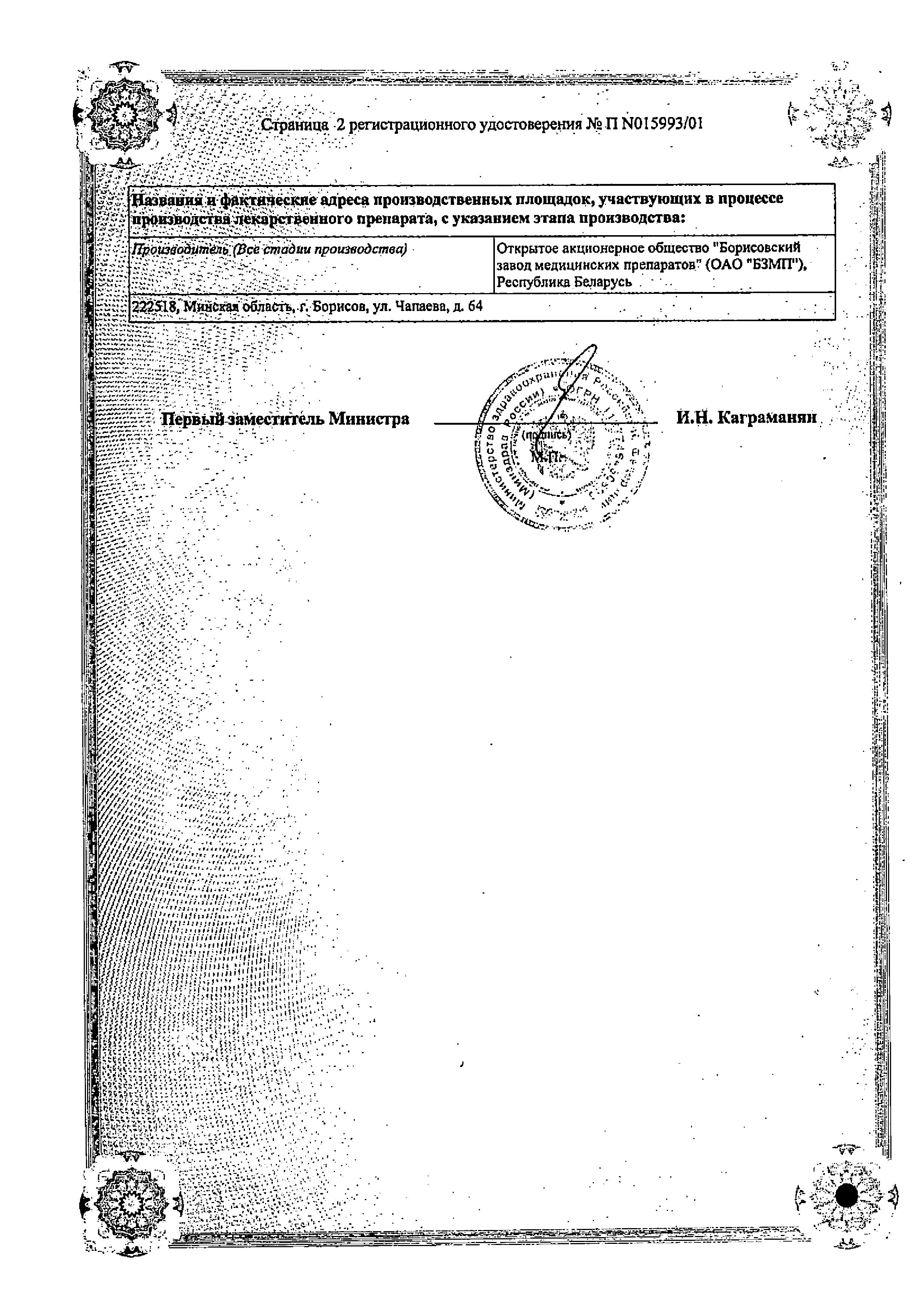 Цианокобаламин сертификат