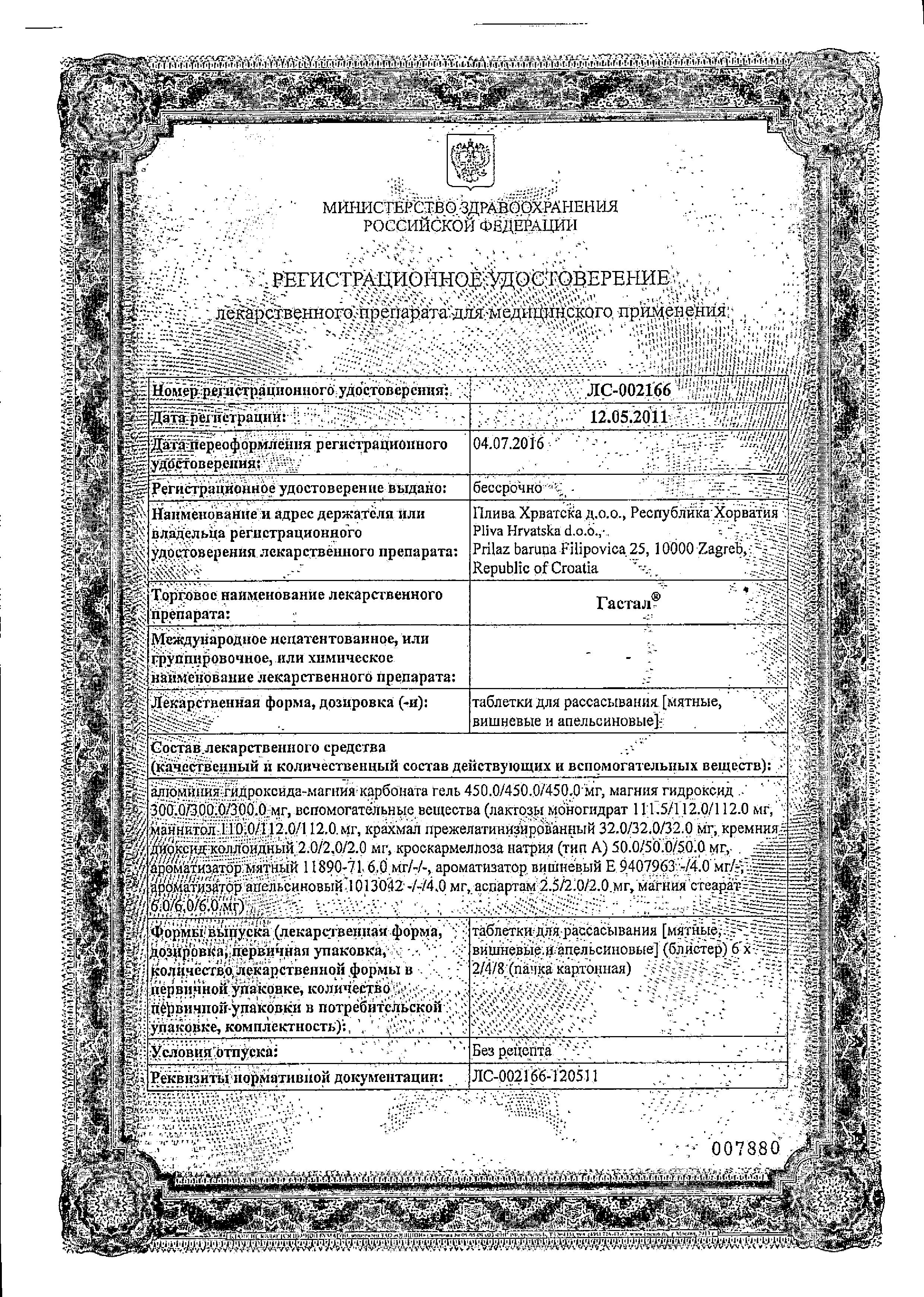 Гастал сертификат
