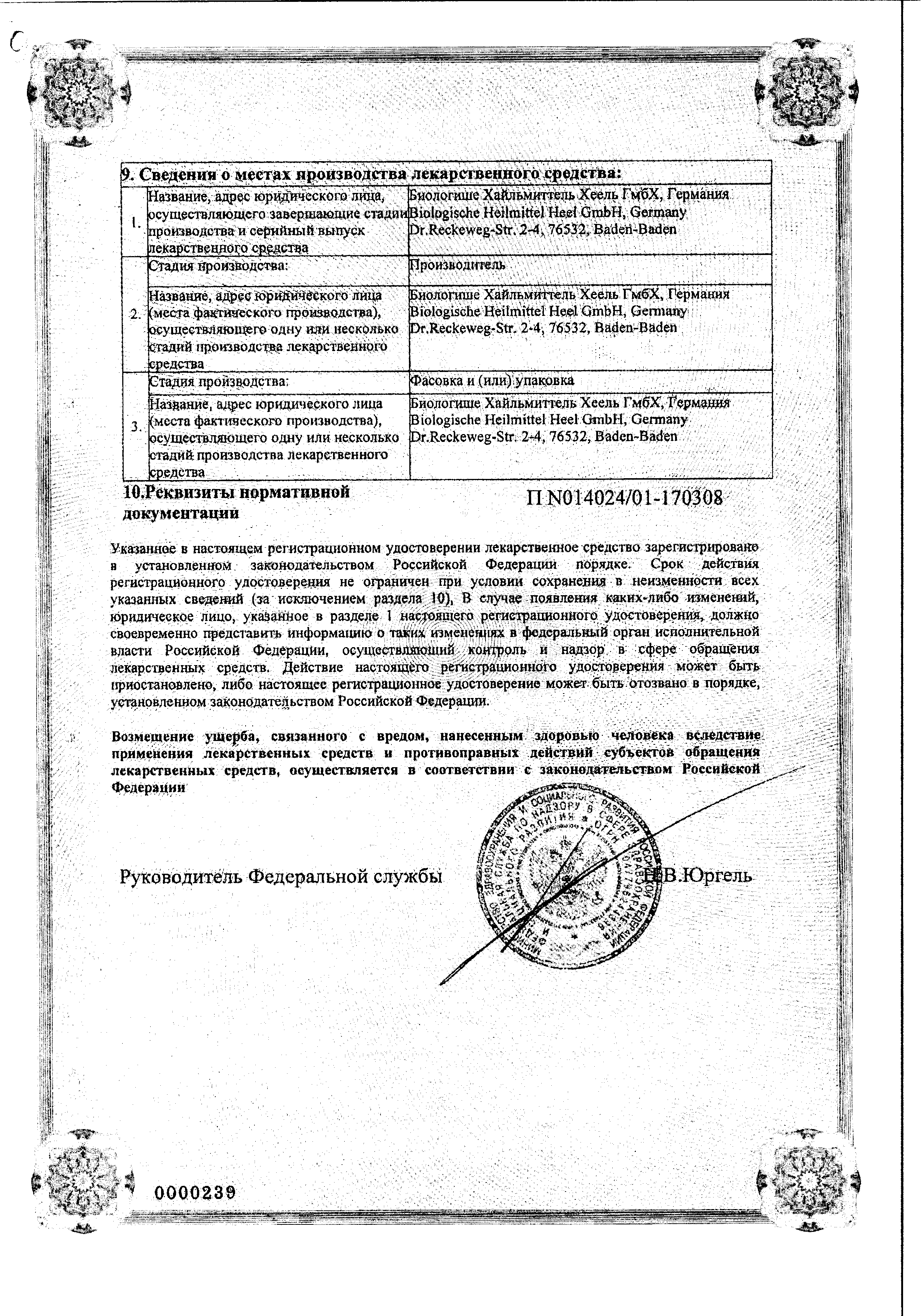 Коэнзим композитум сертификат
